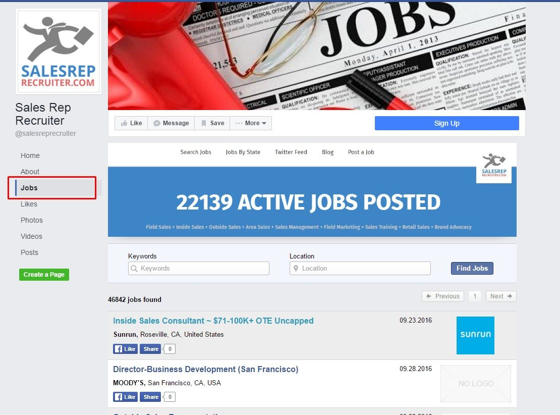 facebook jobs tab