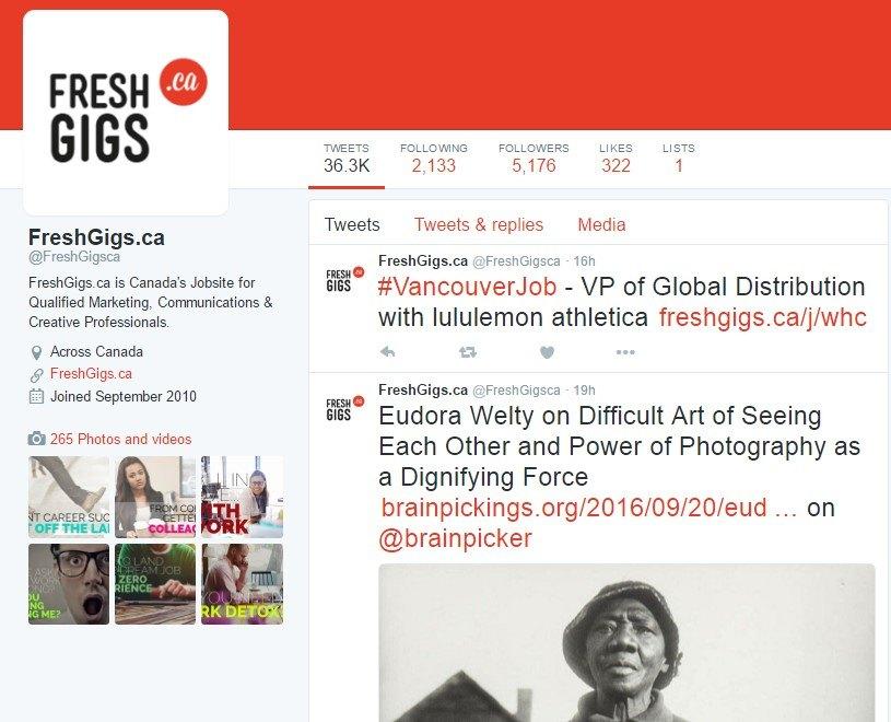 freshgigs twitter account