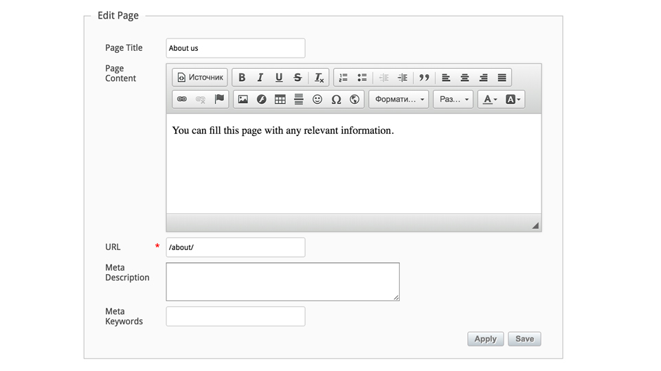 Custom page URLs and Descriptions